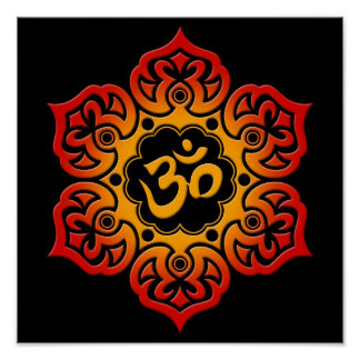 Red and Yellow Lotus Flower Om on Black Poster