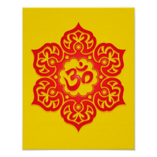 Red and Yellow Lotus Flower Om Poster