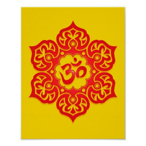Red and Yellow Lotus Flower Om Print