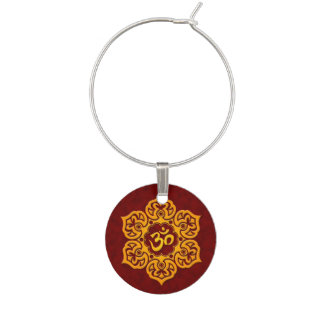 Red and Yellow Lotus Flower Om Wine Charm