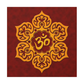 Red and Yellow Lotus Flower Om Wood Canvases