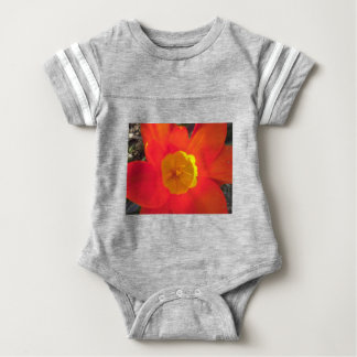 Red and yellow open tulip flower baby bodysuit