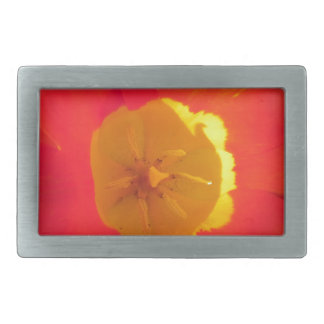 Red and yellow open tulip flower belt buckle