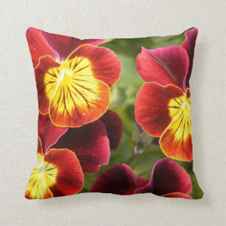 Red and Yellow Pansies (Viola) Throw Pillow