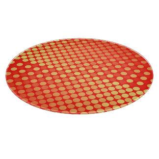Red and Yellow Polka Dot Food Preparation Board Cutting Board
