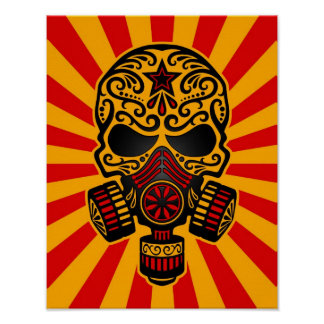 Red and Yellow Post Apocalyptic Sugar Skull Poster