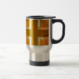 Red and yellow religious cross 15 oz stainless steel travel mug