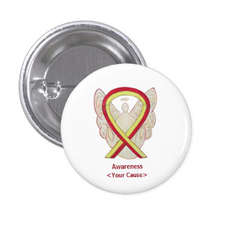 Red and Yellow Ribbon Awareness Angel Button Pins