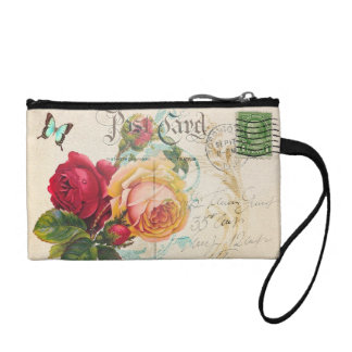Red and Yellow Rose Key Coin Clutch Coin Purse