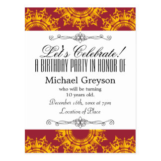 Red and Yellow Royalty Print Postcard