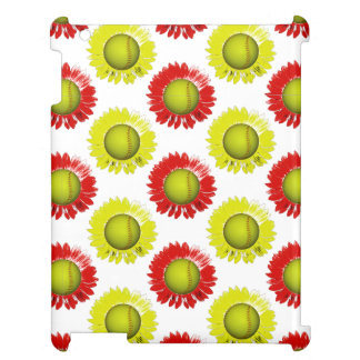 Red and Yellow Softball Flower Pattern iPad Cases