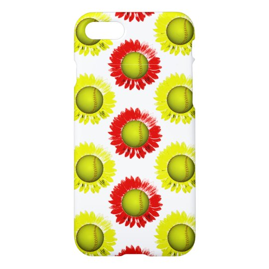 Red and Yellow Softball Flower Pattern iPhone 7 Case