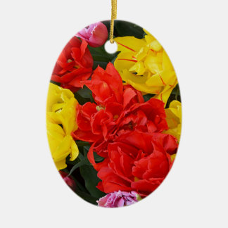 Red and yellow spring tulips ceramic oval ornament