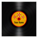 Red and Yellow Stars Personalized Vinyl Record Poster