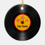 Red and Yellow Stars Personalized Vinyl Record Round Ceramic Ornament