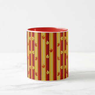 Red and Yellow Stripe and Leaf Combo Mug