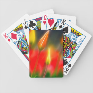 Red and Yellow Tulip Glow Bicycle Playing Cards
