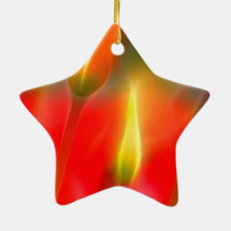 Red and Yellow Tulip Glow Ceramic Star Ornament