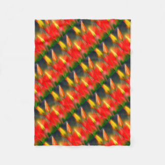 Red and Yellow Tulip Glow Fleece Blanket