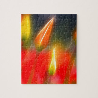 Red and Yellow Tulip Glow Jigsaw Puzzle