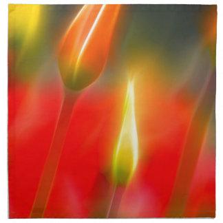 Red and Yellow Tulip Glow Napkin