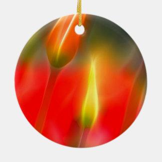 Red and Yellow Tulip Glow Round Ceramic Ornament