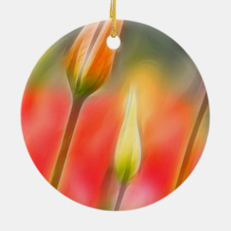 Red and Yellow Tulip Sketch Round Ceramic Ornament