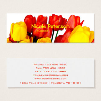 red and yellow tulips - florist mini business card