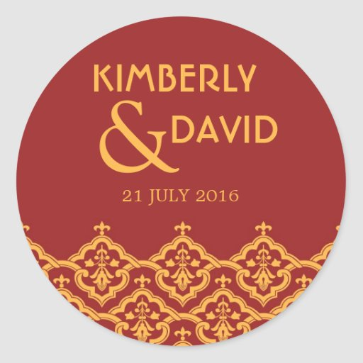 Red and Yellow Vintage Damask Wedding Label Sticker