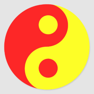 Red and Yellow Yin Yang Symbol Classic Round Sticker