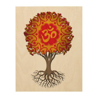 Red and Yellow Yoga Om Tree of Life Wood Print