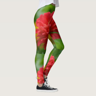 Red and Yellow Zinnias Leggings