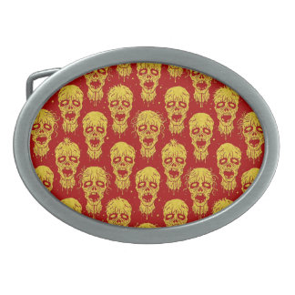 Red and Yellow Zombie Apocalypse Pattern Oval Belt Buckle
