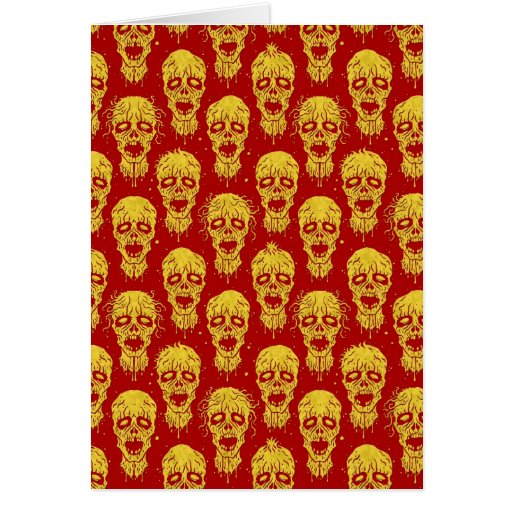 Red and Yellow Zombie Apocalypse Pattern Cards