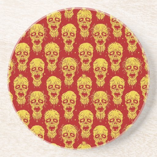 Red and Yellow Zombie Apocalypse Pattern Coaster