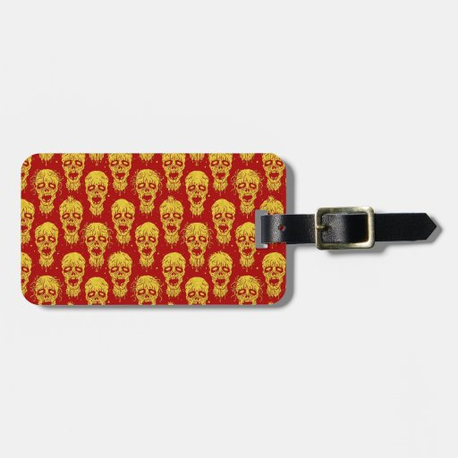Red and Yellow Zombie Apocalypse Pattern Bag Tag