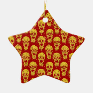 Red and Yellow Zombie Apocalypse Pattern Ornament