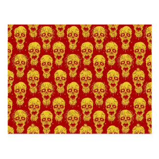 Red and Yellow Zombie Apocalypse Pattern Postcard