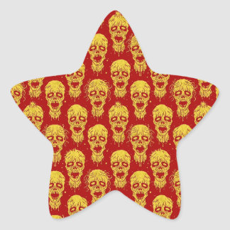 Red and Yellow Zombie Apocalypse Pattern Star Sticker