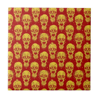 Red and Yellow Zombie Apocalypse Pattern Tile