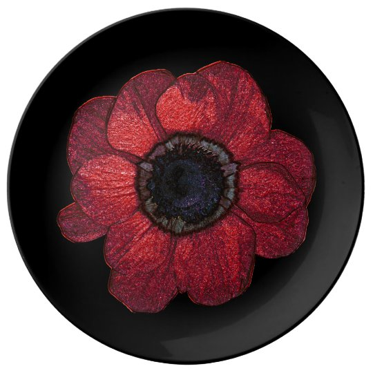 Red anemone Decorative Porcelain Plate
