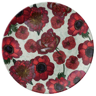 Red anemones and roses  Decorative Porcelain Plate