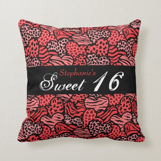 Red animal pattern hearts Sweet Sixteen Pillow