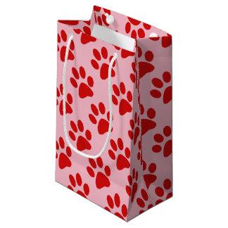 Red Animal Paw Print Small Gift Bag