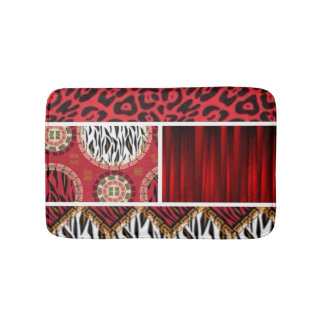 Red Animal Print and Patterns Collage Bathroom Mat