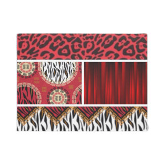 Red Animal Print and Patterns Collage Doormat