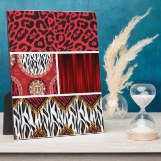 Red Animal Print and Patterns Collage Plaque