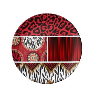 Red Animal Print and Patterns Collage Plate