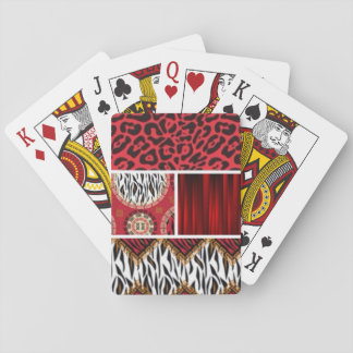 Red Animal Print and Patterns Collage Playing Cards