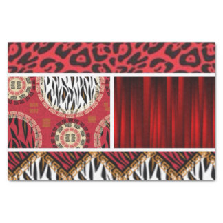 Red Animal Print and Patterns Collage Tissue Paper